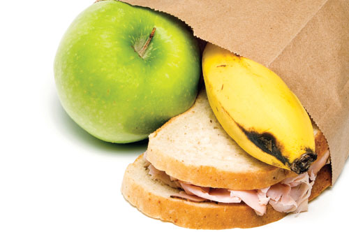 sandwich, apple, and banana