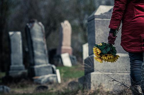 cemetery, headstones, flowers