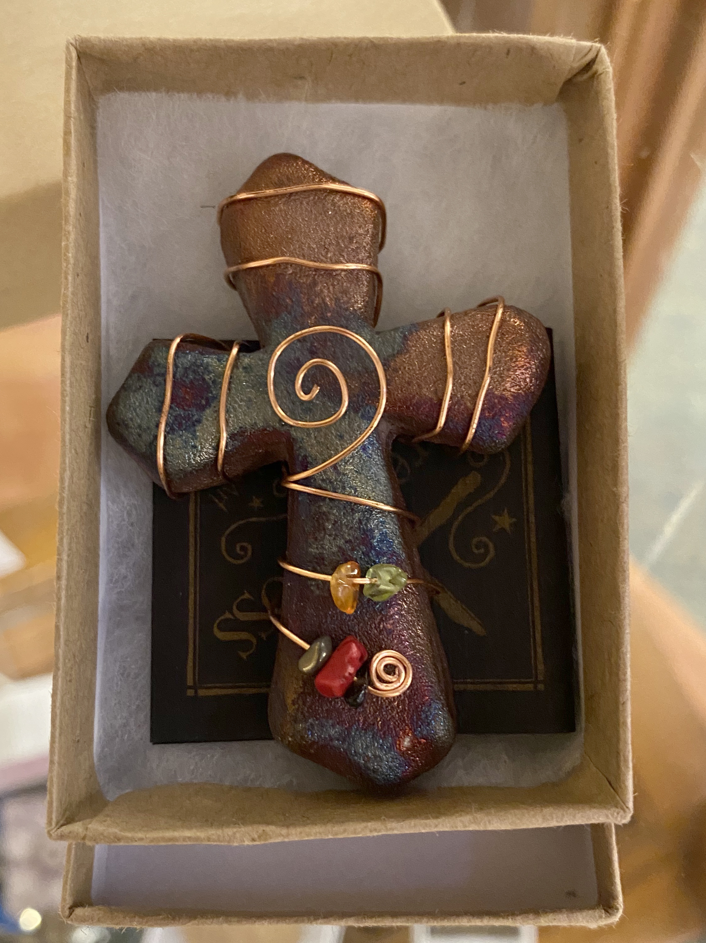 raku cross with copper wire and beads