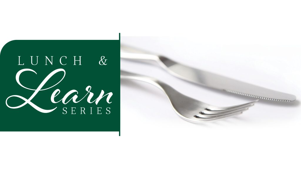 fork and knife with the Lunch and Learn logo