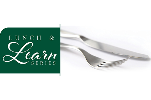 fork and knife with Lunch and Learn logo