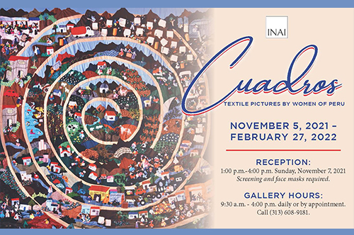 Postcard Of Cuadros Exhibit With Textile Artwork And Text With Exhibit Days And Hours