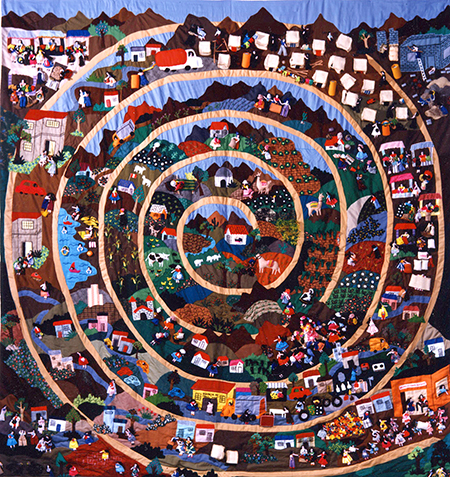 A cuadros panel with a spiral